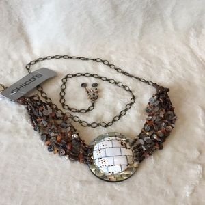 NWT Chico's Mother Of Pearl Beaded Chain Belt